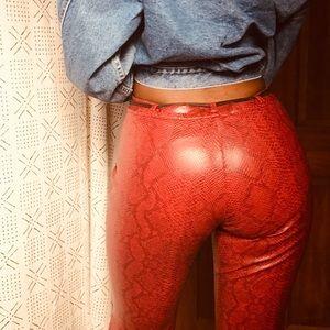 🌶 2000s Red Hot PVC Snakeskin Pants 🌶